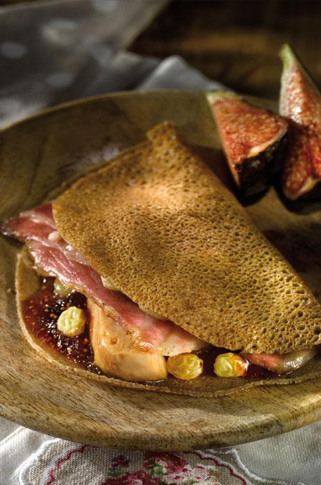 Crêpes au foie gras et à la figue