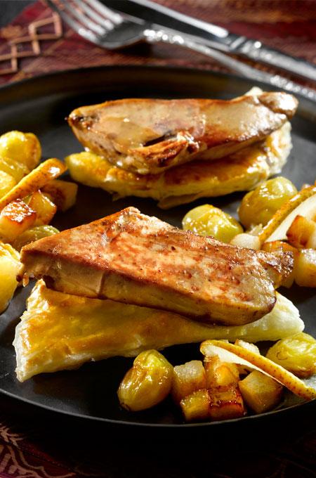 Feuilleté de foie gras aux poires