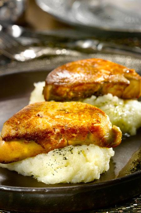 Purée de topinambours au foie gras