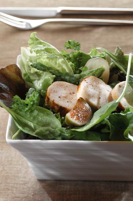 Salade de boudin blanc au jus de truffe