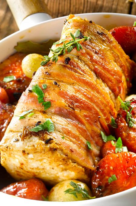 Rôti de thon aux tomates confites