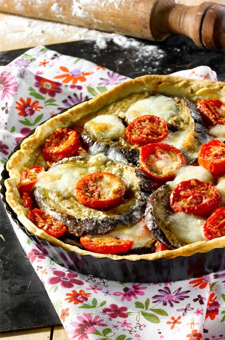 Tarte aux aubergines et tomates mozzarella