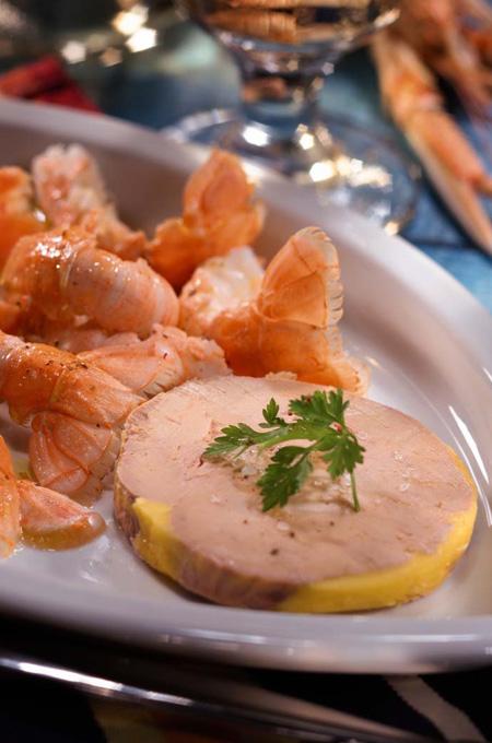Poêlée de langoustines au foie gras