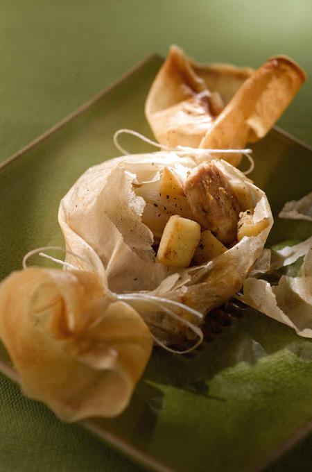 Papillotes de dinde au foie gras et aux pommes